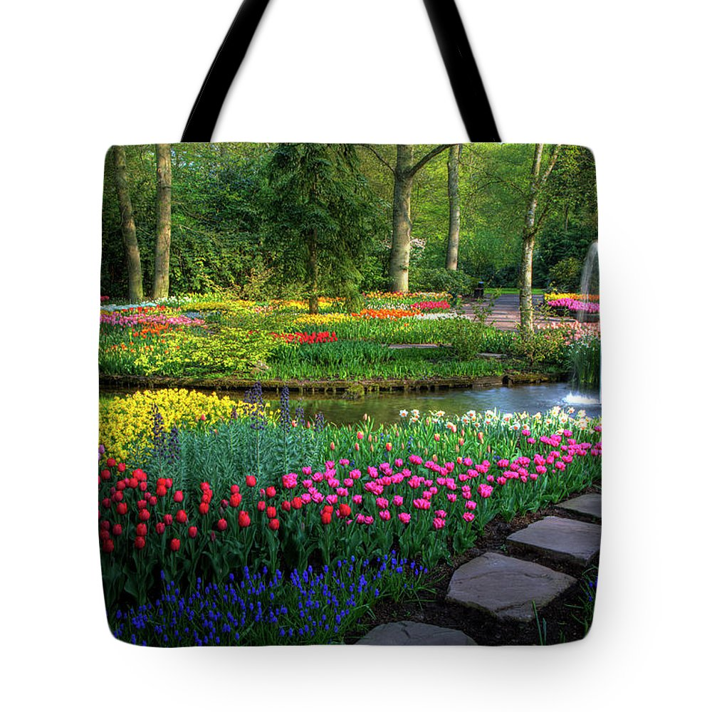Netherlands Tote Bag featuring the photograph Springtime Keukenhof Gardens With by Darrell Gulin