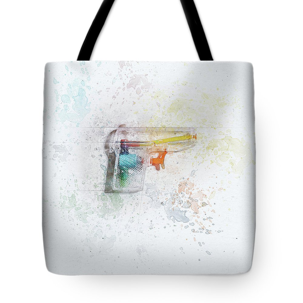 Still Life Tote Bag featuring the digital art Squirt Gun Painted by Scott Norris