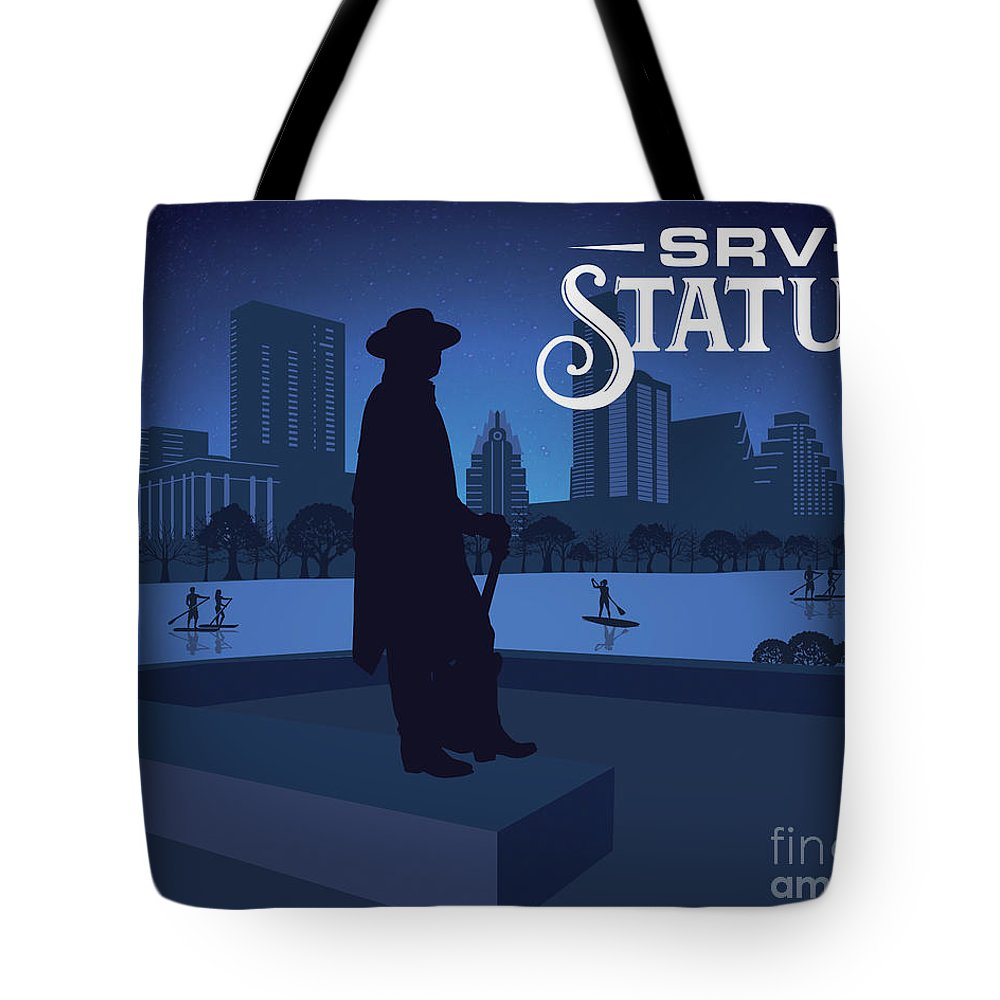 Srv Memorial Statue Tote Bag featuring the photograph Srv Memorial Statue by Weird Austin Photos