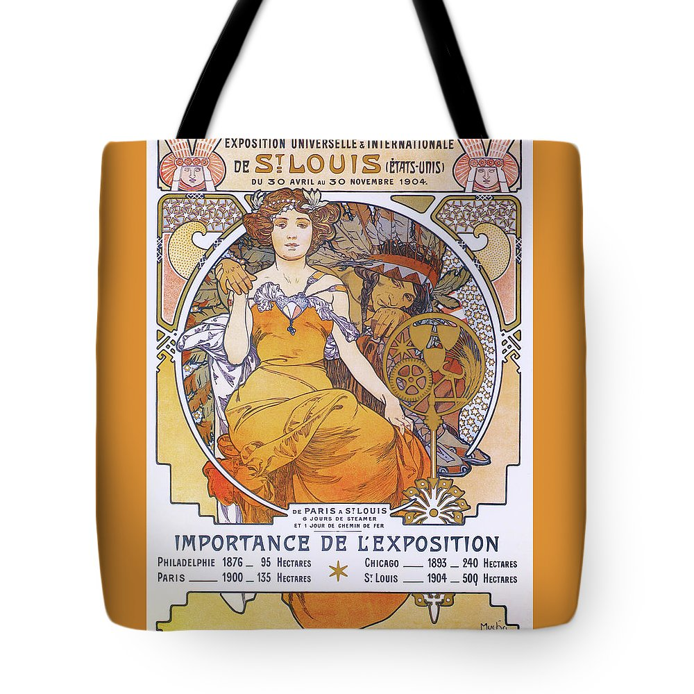 Alfons Maria Mucha Tote Bag featuring the painting St. Louis World Exposition - Digital Remastered Edition by Alfons Maria Mucha