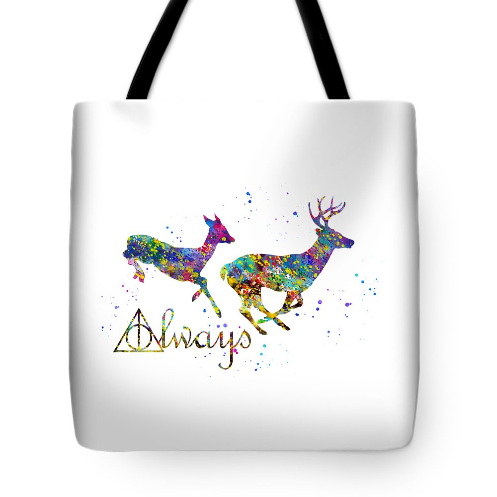 Harry Potter Tote Bag featuring the digital art Stag Patronus by Erzebet S