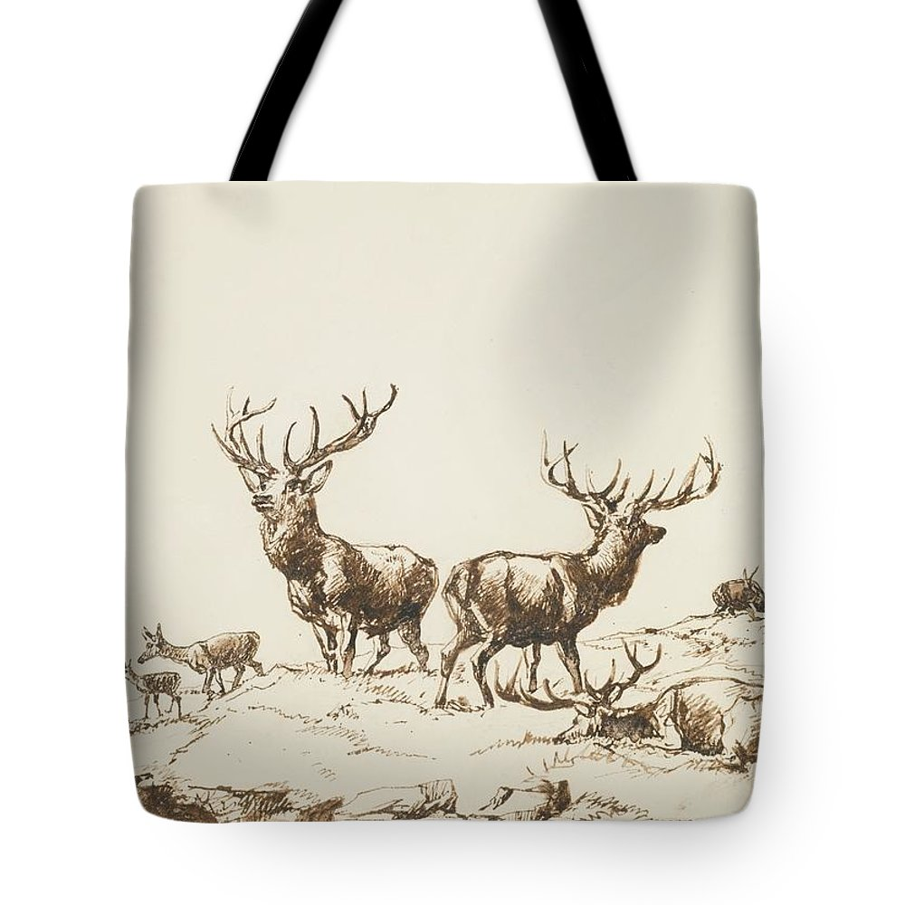 Sir Edwin Henry Landseer Tote Bag featuring the painting Stags And Hinds On A Mountain Side by MotionAge Designs