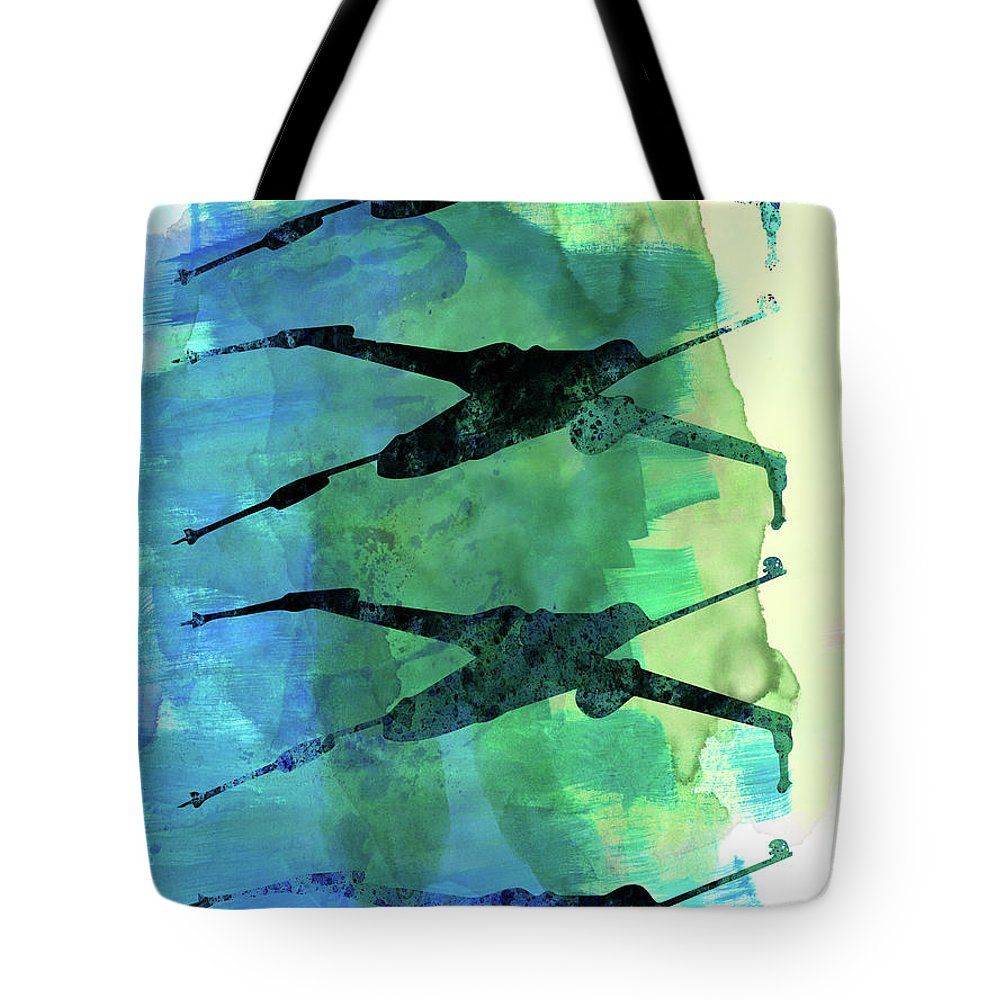 X-wing Tote Bag featuring the mixed media Star Warrior X-wing Watercolor 1 by Naxart Studio