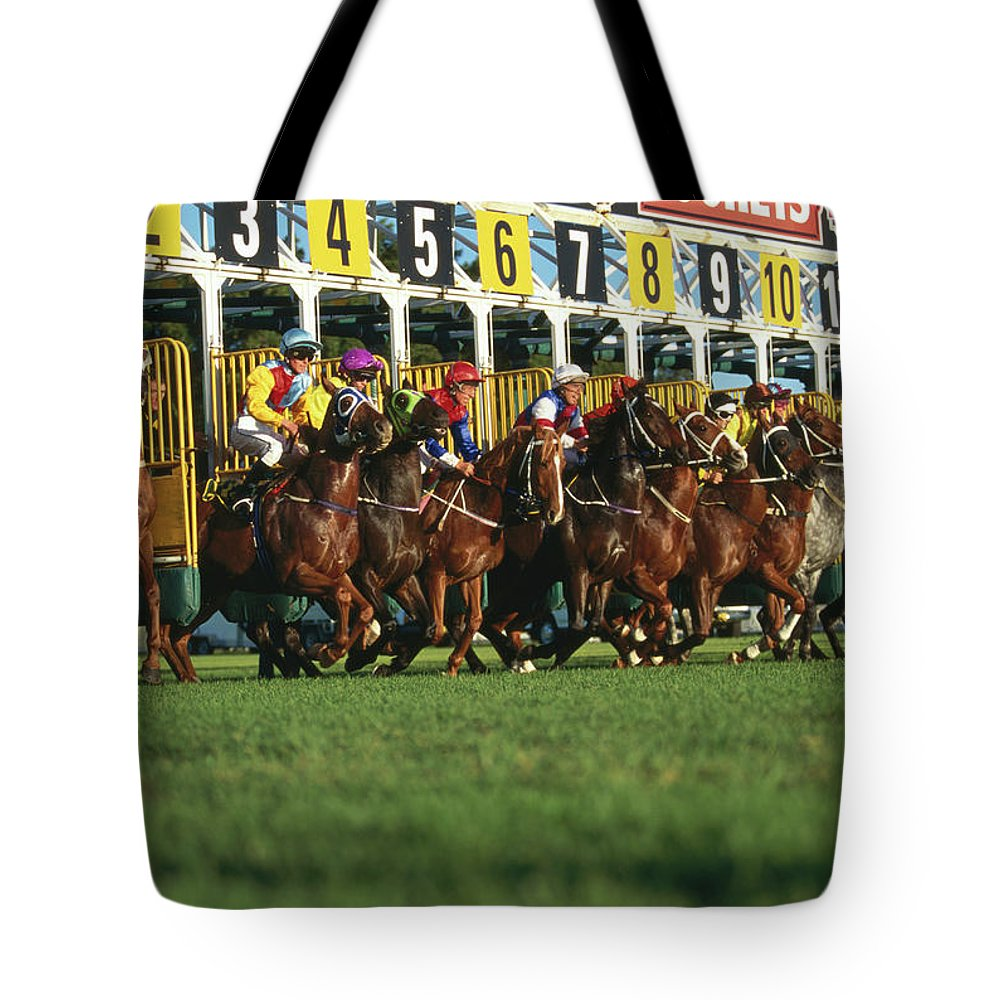 Horse Tote Bag featuring the photograph Start Of Horse Race, Sydney, New South by Oliver Strewe