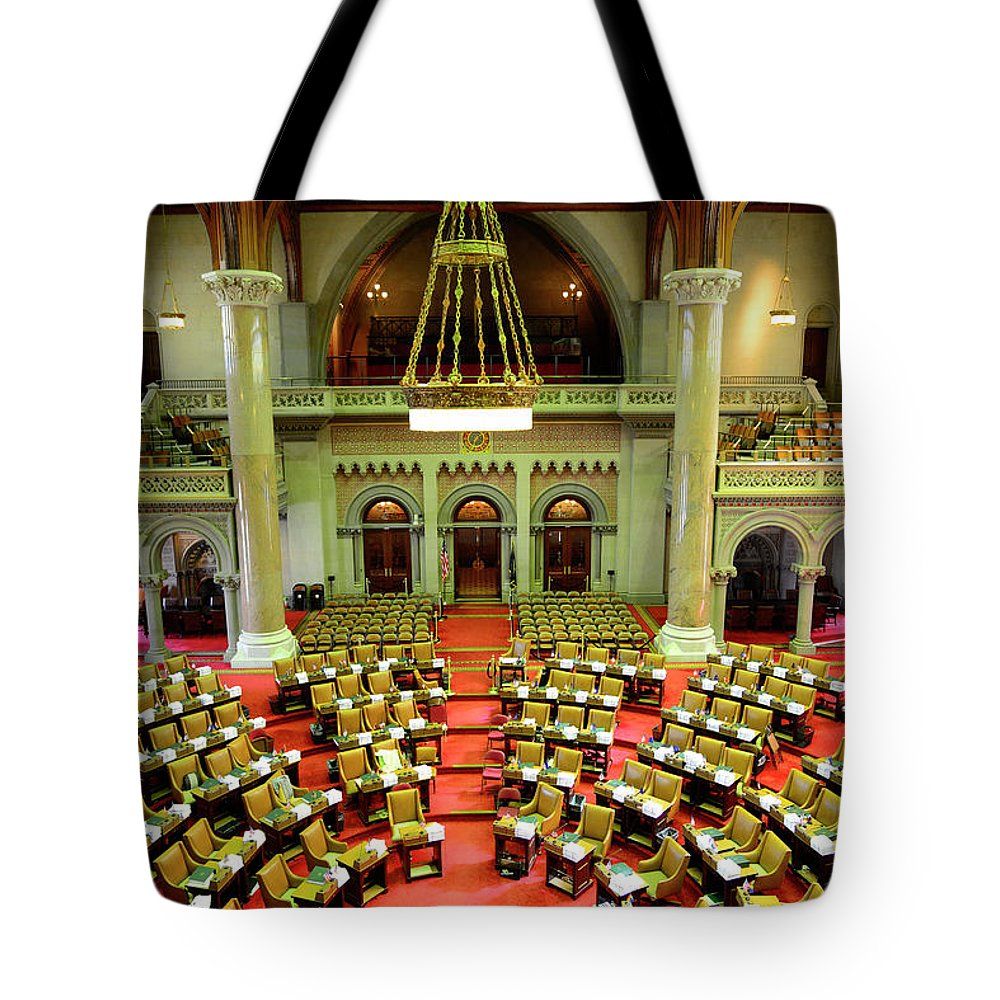 Arch Tote Bag featuring the photograph State House Capitol Building, Albany by Dennis Macdonald