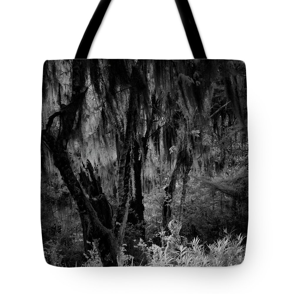 Black And White Tote Bag featuring the photograph Statue In The Grass by Jon Glaser