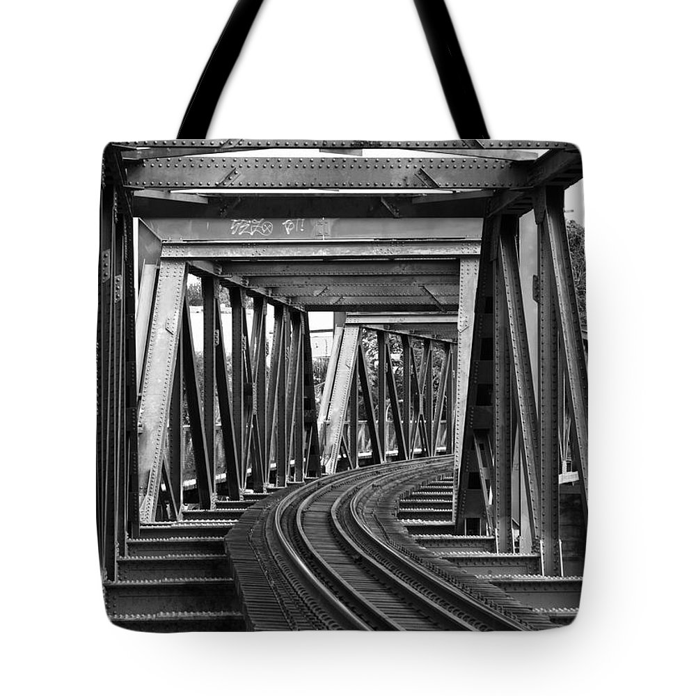 Railroad Track Tote Bag featuring the photograph Steel Girder Railway Bridge by Peterjseager