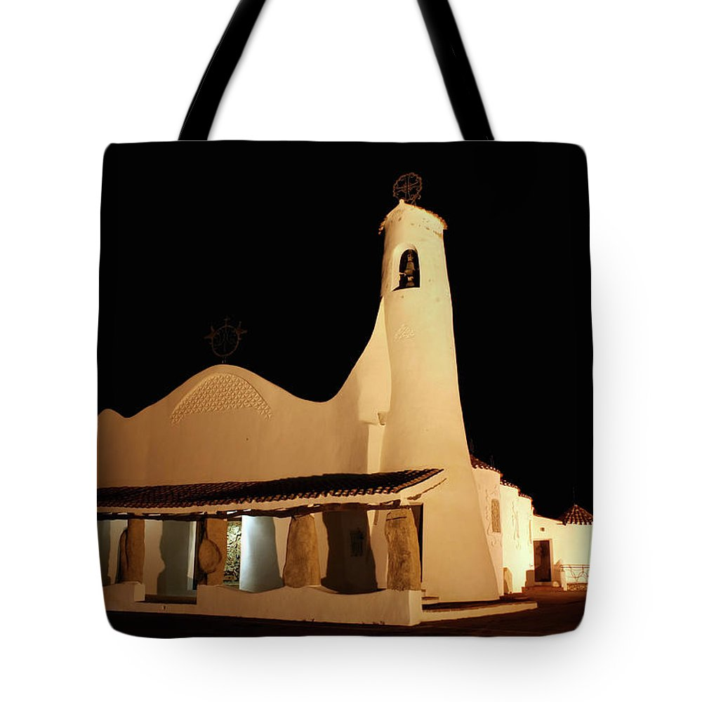 Art And Craft Product Tote Bag featuring the photograph Stella Maris Church In Porto Cervo With by Photovideostock