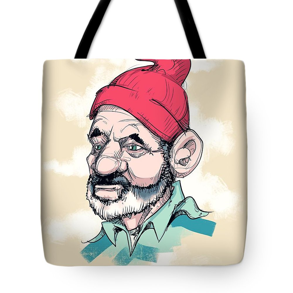 Life Aquatic Tote Bag featuring the drawing Steve by Ludwig Van Bacon