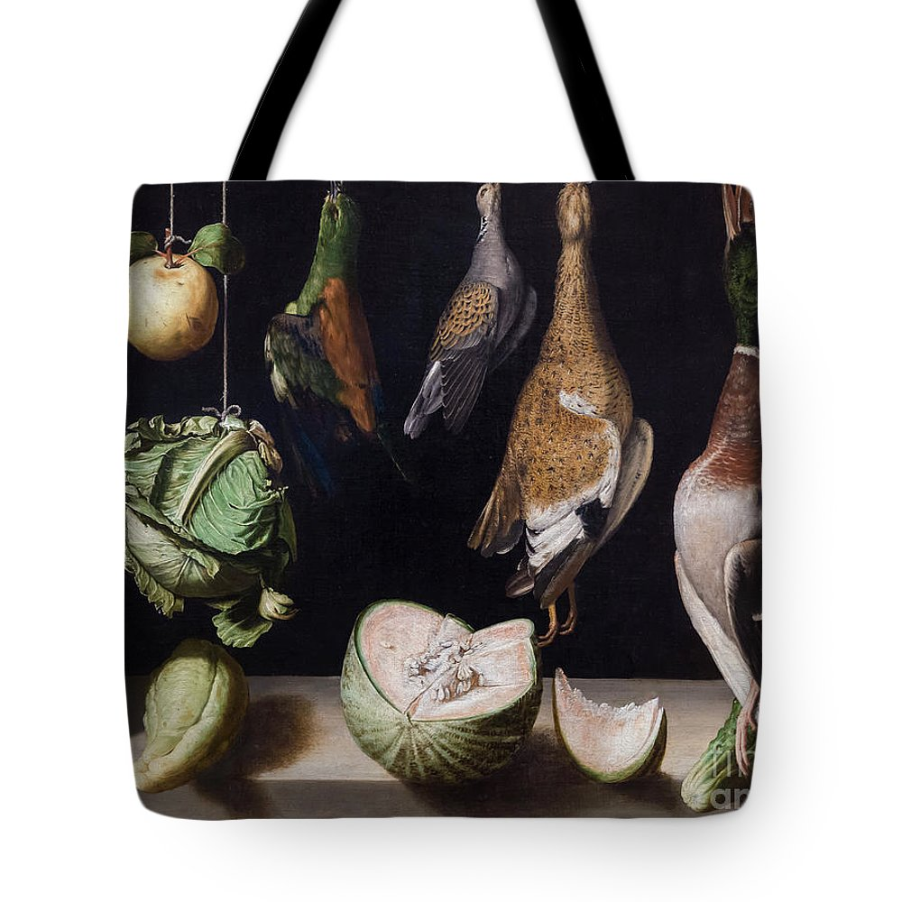 1600-1603 Tote Bag featuring the photograph Still Life With Game Fowl by Peter Barritt