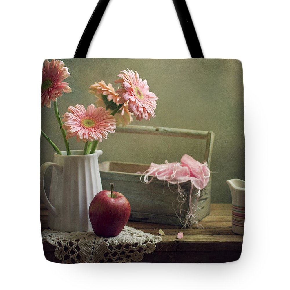 Spoon Tote Bag featuring the photograph Still Life With Pink Gerberas And Red by Copyright Anna Nemoy(xaomena)