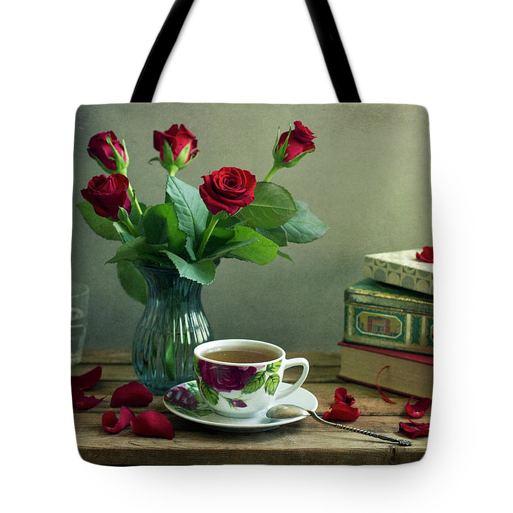 Education Tote Bag featuring the photograph Still Life With Red Roses by Copyright Anna Nemoy(xaomena)