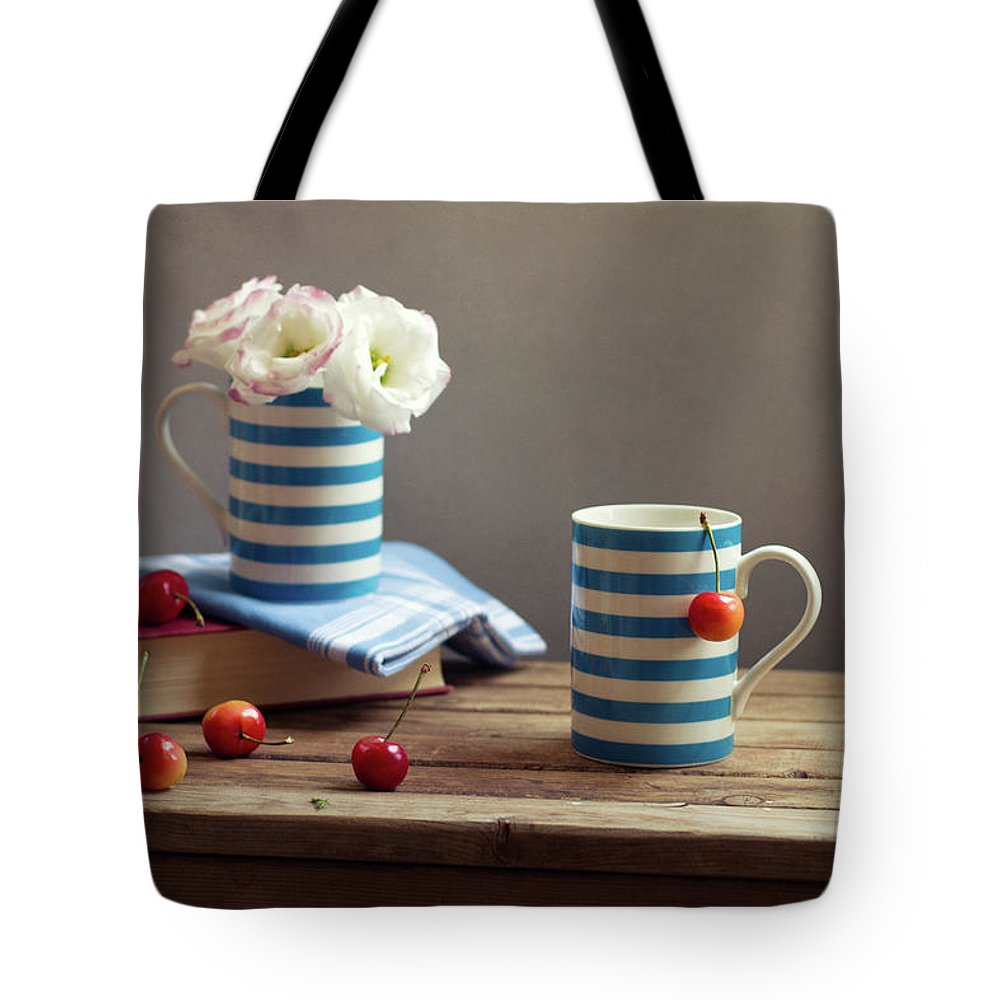 Cherry Tote Bag featuring the photograph Still Life With Striped Cups by Copyright Anna Nemoy(xaomena)