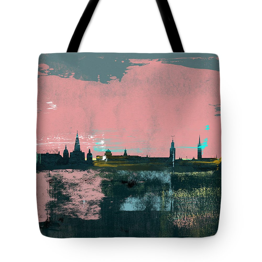 Stockholm Tote Bag featuring the mixed media Stockholm Abstract Skyline II by Naxart Studio