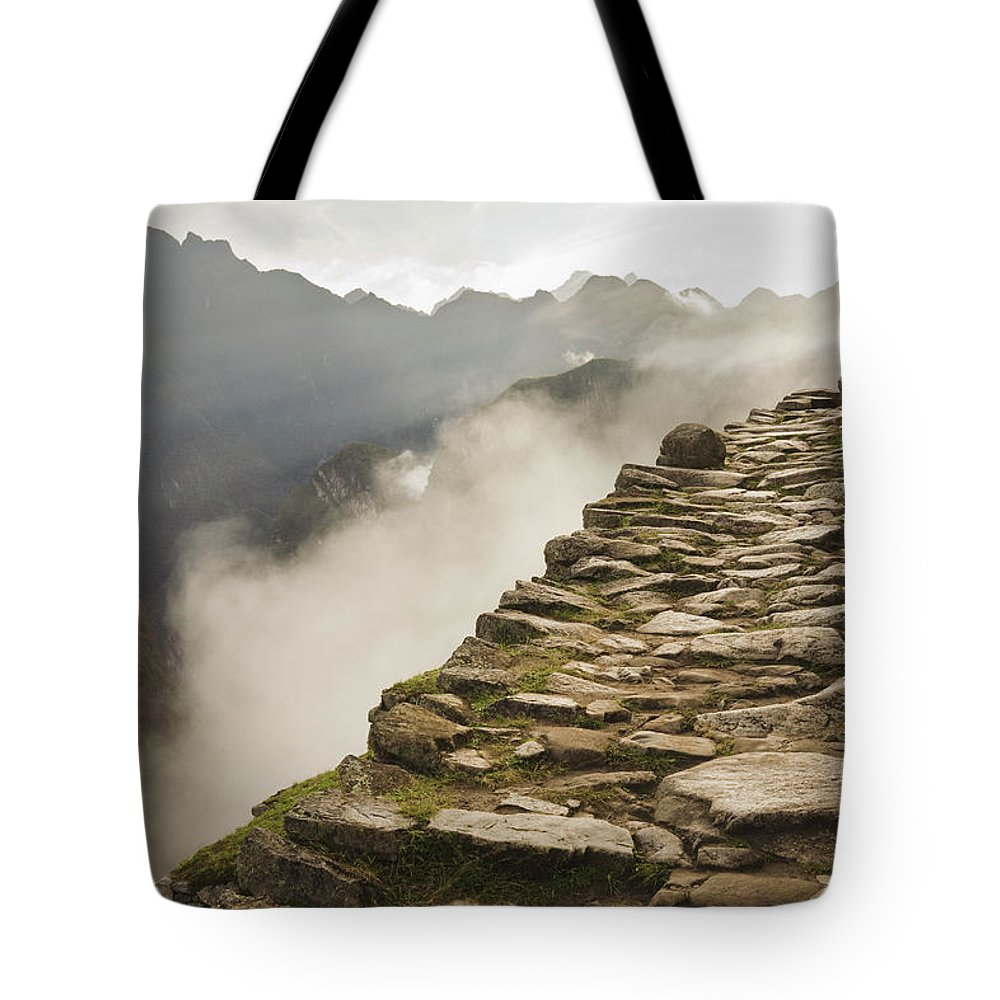 Machu Picchu Tote Bag featuring the photograph Stone Inca Trail by David Madison
