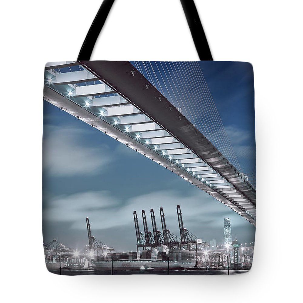 Built Structure Tote Bag featuring the photograph Stonecutters And Container Terminal by Andi Andreas