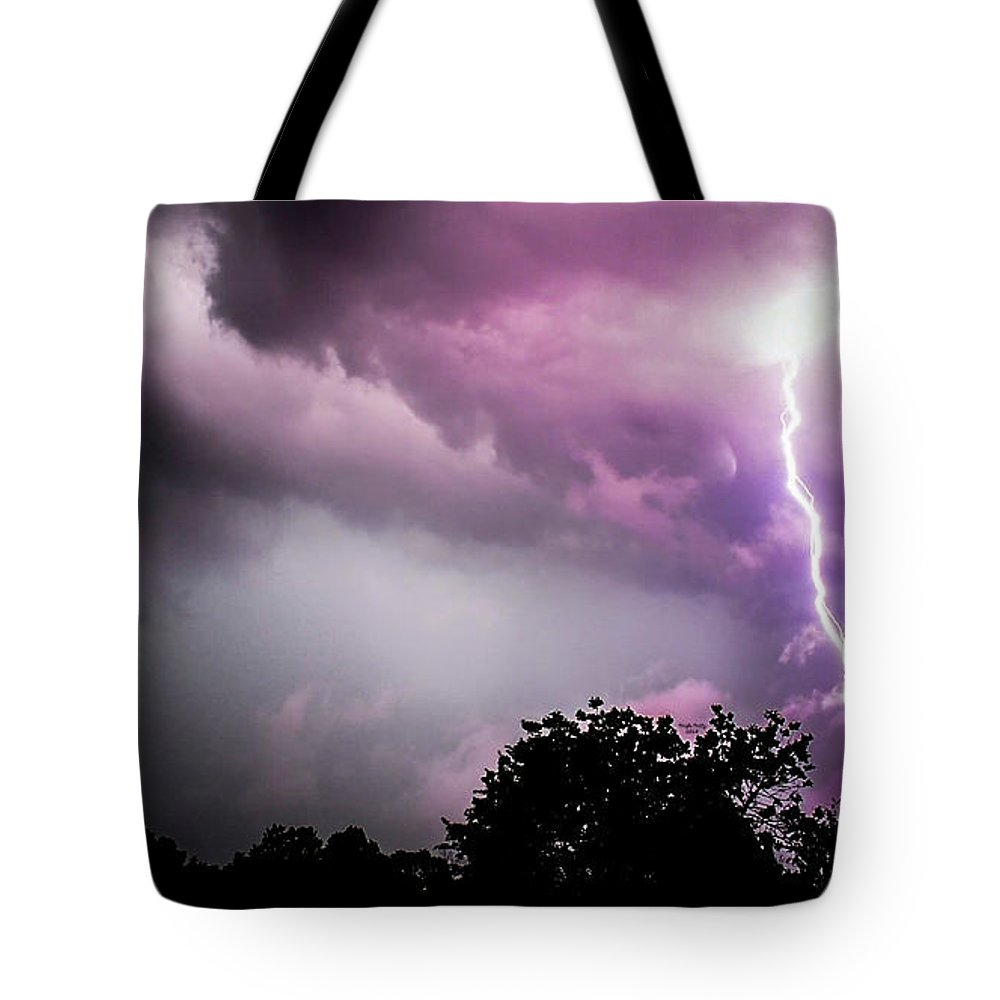 Storm Tote Bag featuring the mixed media Storm Chaser by Trish Tritz