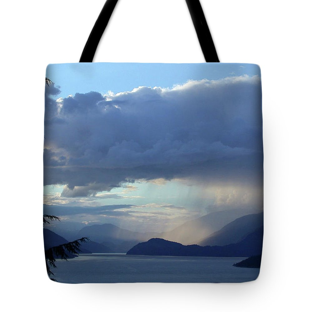Sechelt Inlet Tote Bag featuring the photograph Stormy Inlet by Carolyn Clarke Photography