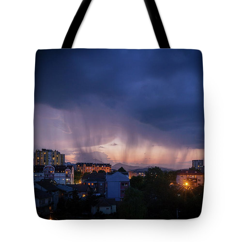 Sky Tote Bag featuring the photograph Stormy Weather Over The Small Town by Dejan Jekic