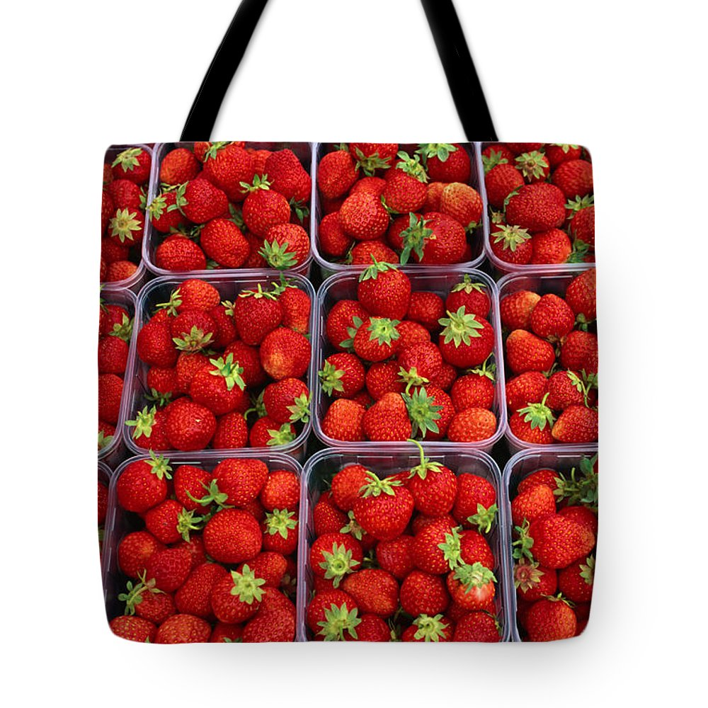 Fruit Carton Tote Bag featuring the photograph Strawberries For Sale, Bergen, Norway by Anders Blomqvist