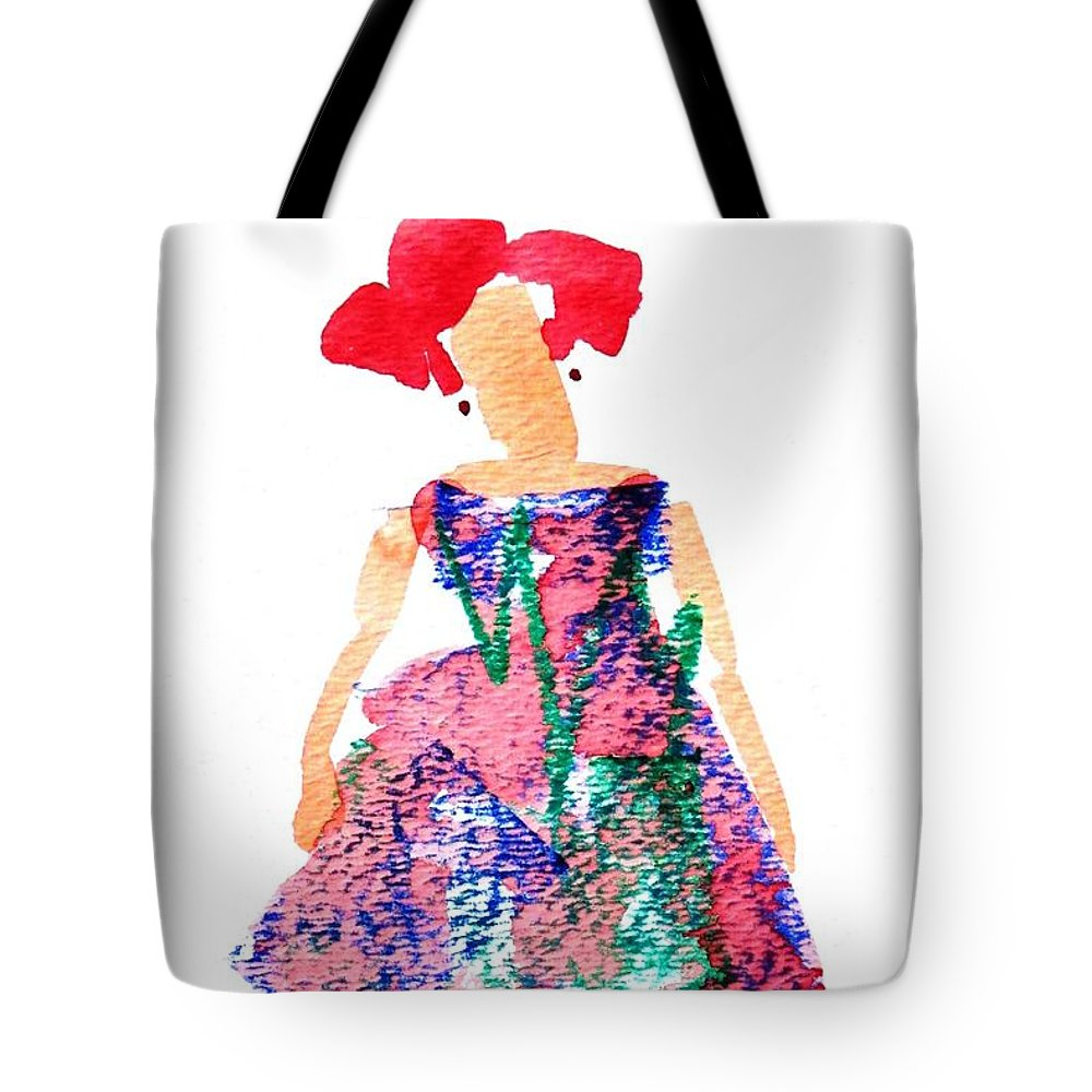 Strawberry Red Tote Bag featuring the painting Strawberry Dress by Larry Lerew