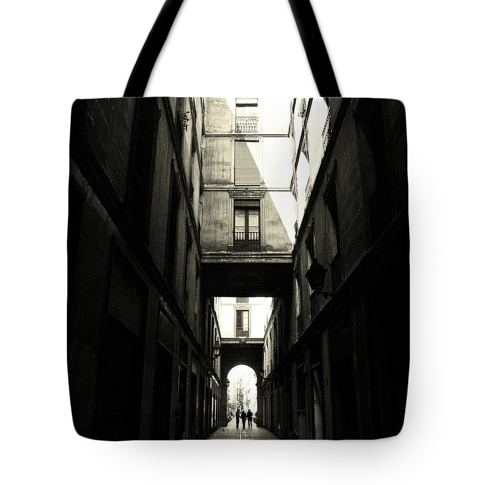 Arch Tote Bag featuring the photograph Street In Barcelona by Maria Fernandez