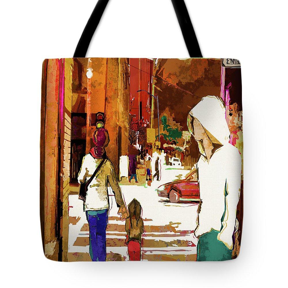 City Life Tote Bag featuring the digital art Street Life Innocence by Regina Wyatt