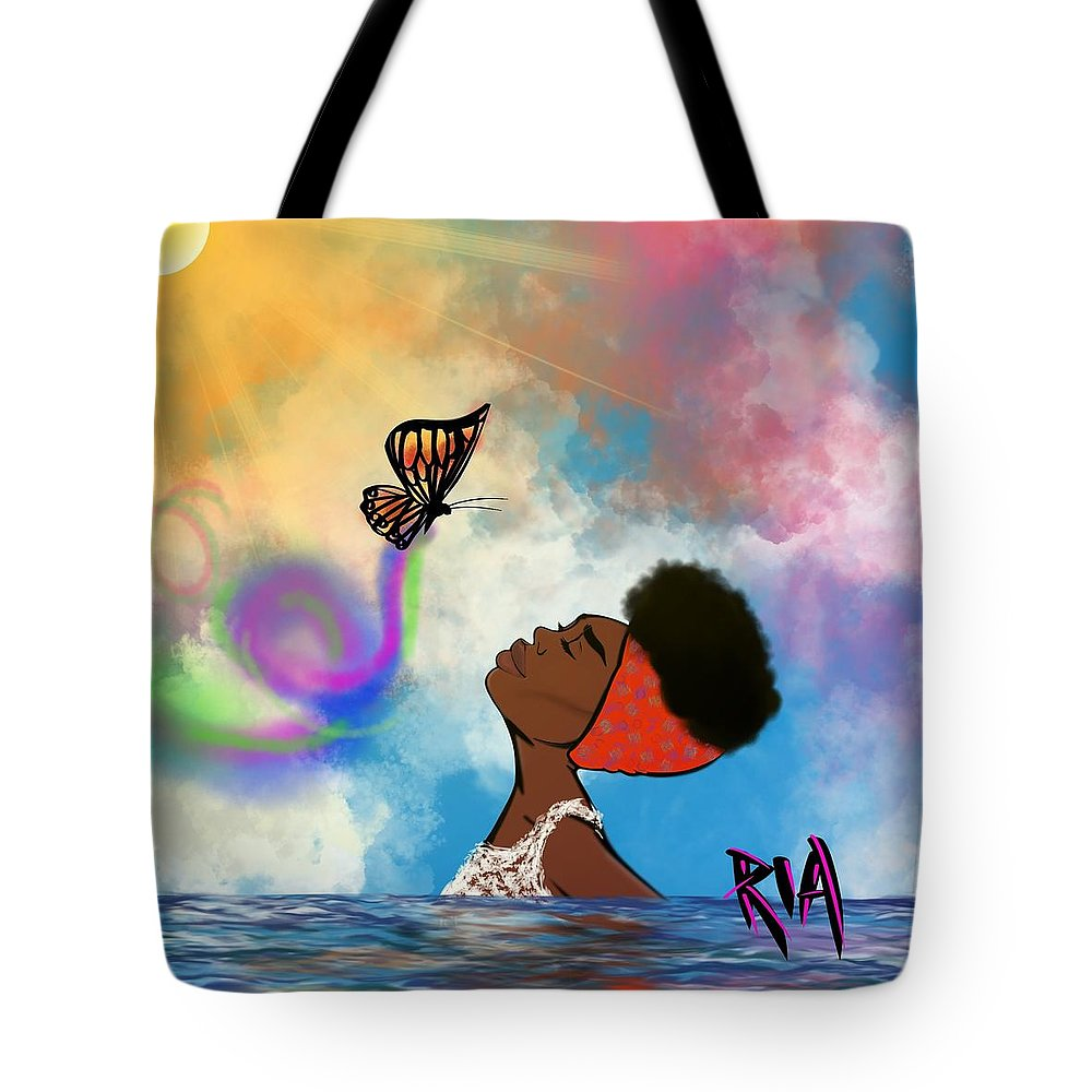 Baptism Tote Bag featuring the painting Strip off the old personality by Artist RiA