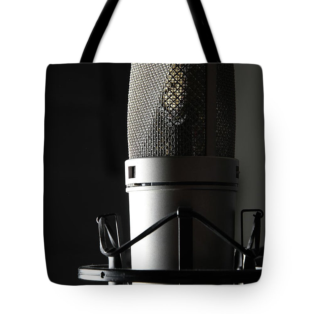 Music Tote Bag featuring the photograph Studio Microphone by Wibs24