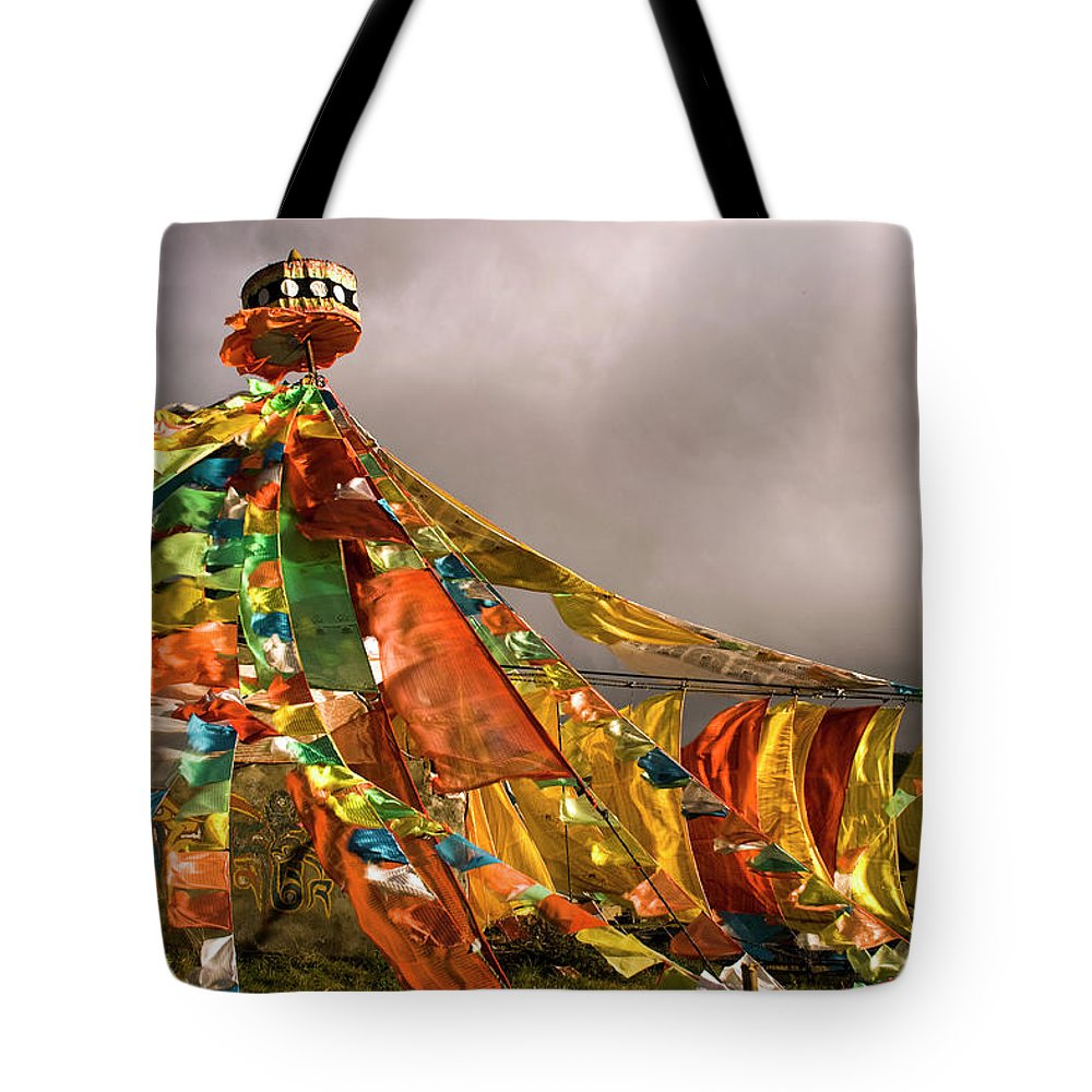 Chinese Culture Tote Bag featuring the photograph Stupa, Buddhist Altar In Tibet, Flags by Stefano Tronci