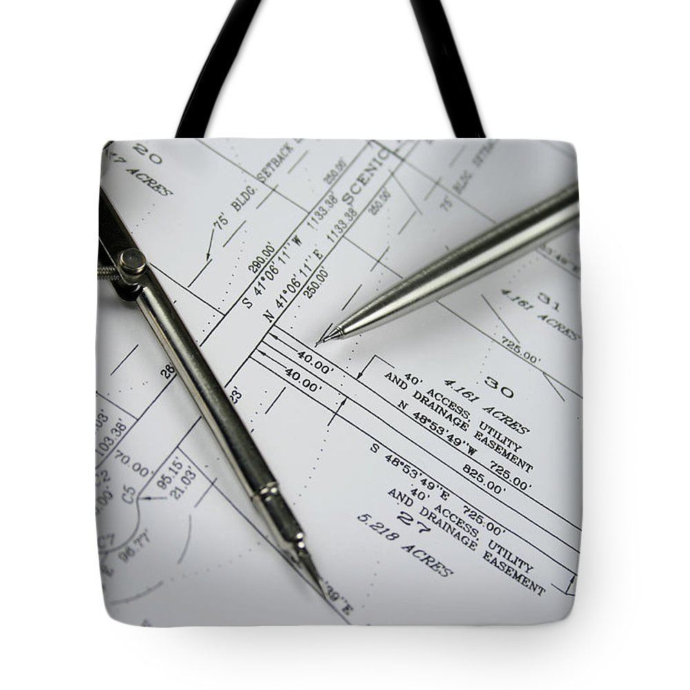 Plan Tote Bag featuring the photograph Subdivision Development Planning by Lvsigns