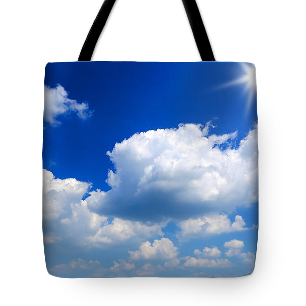 Scenics Tote Bag featuring the photograph Sun And Clouds by Macroworld