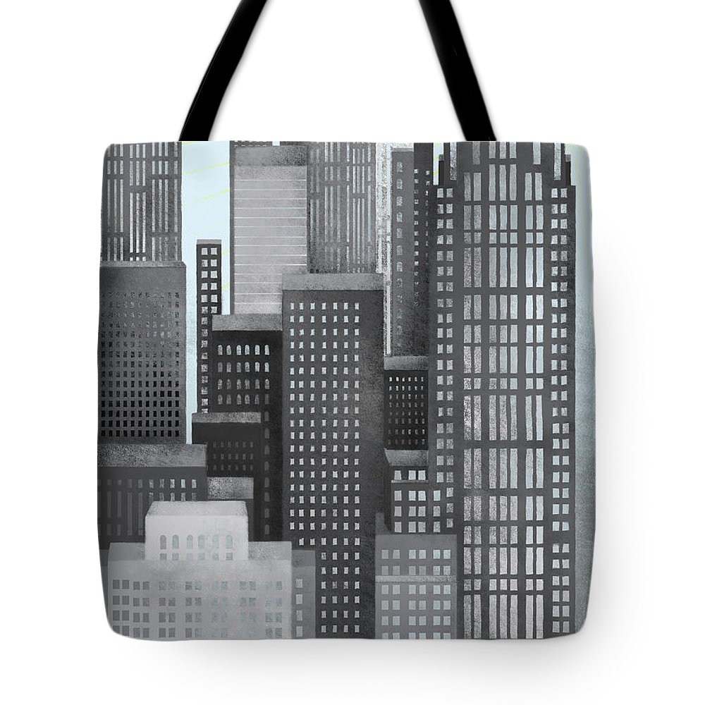 Part Of A Series Tote Bag featuring the digital art Sun And Skyscrapers by Jutta Kuss