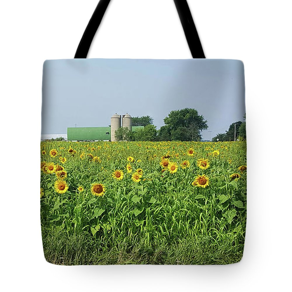 Sun Sunflowers Yellow Field Nature Barn Summer Leaves Sky Tote Bag featuring the photograph Sun Worshippers by Lisa Bates