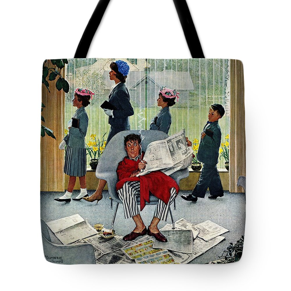 Church Tote Bag featuring the drawing Sunday Morning by Norman Rockwell