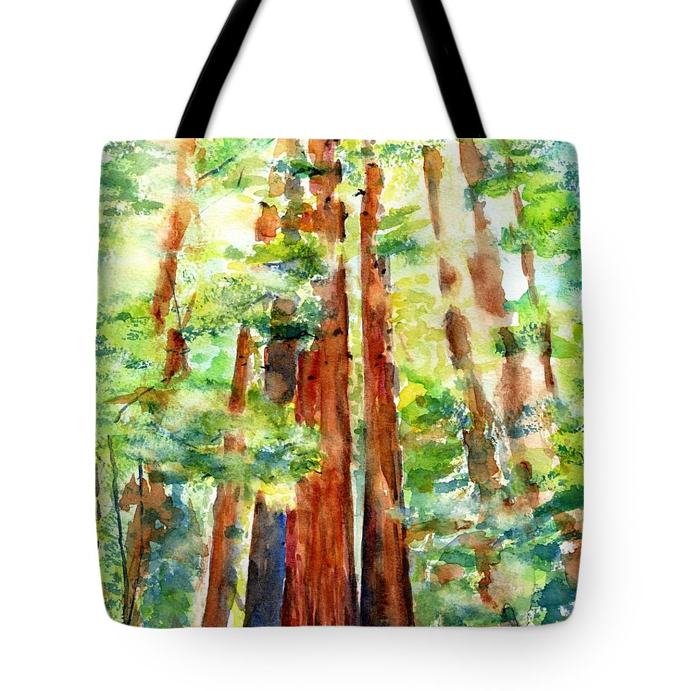 Redwoods Tote Bag featuring the painting Sunlight Through Redwood Trees by Carlin Blahnik CarlinArtWatercolor