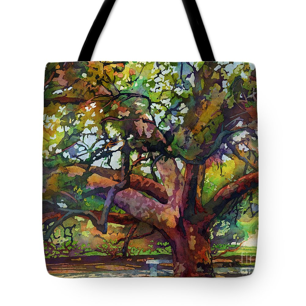 Oak Tote Bag featuring the painting Sunlit Century Tree by Hailey E Herrera