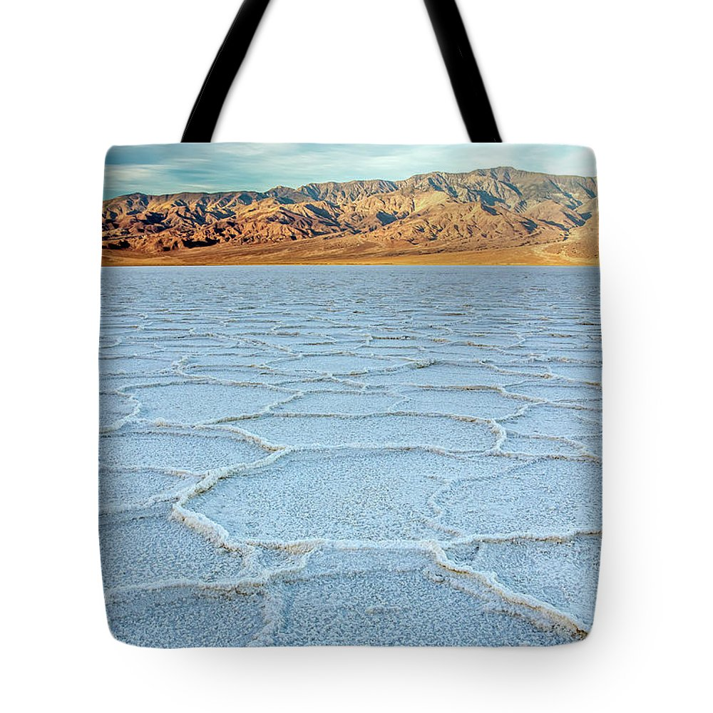 Scenics Tote Bag featuring the photograph Sunrise At Badwater, Death Valley by Pierre Leclerc Photography