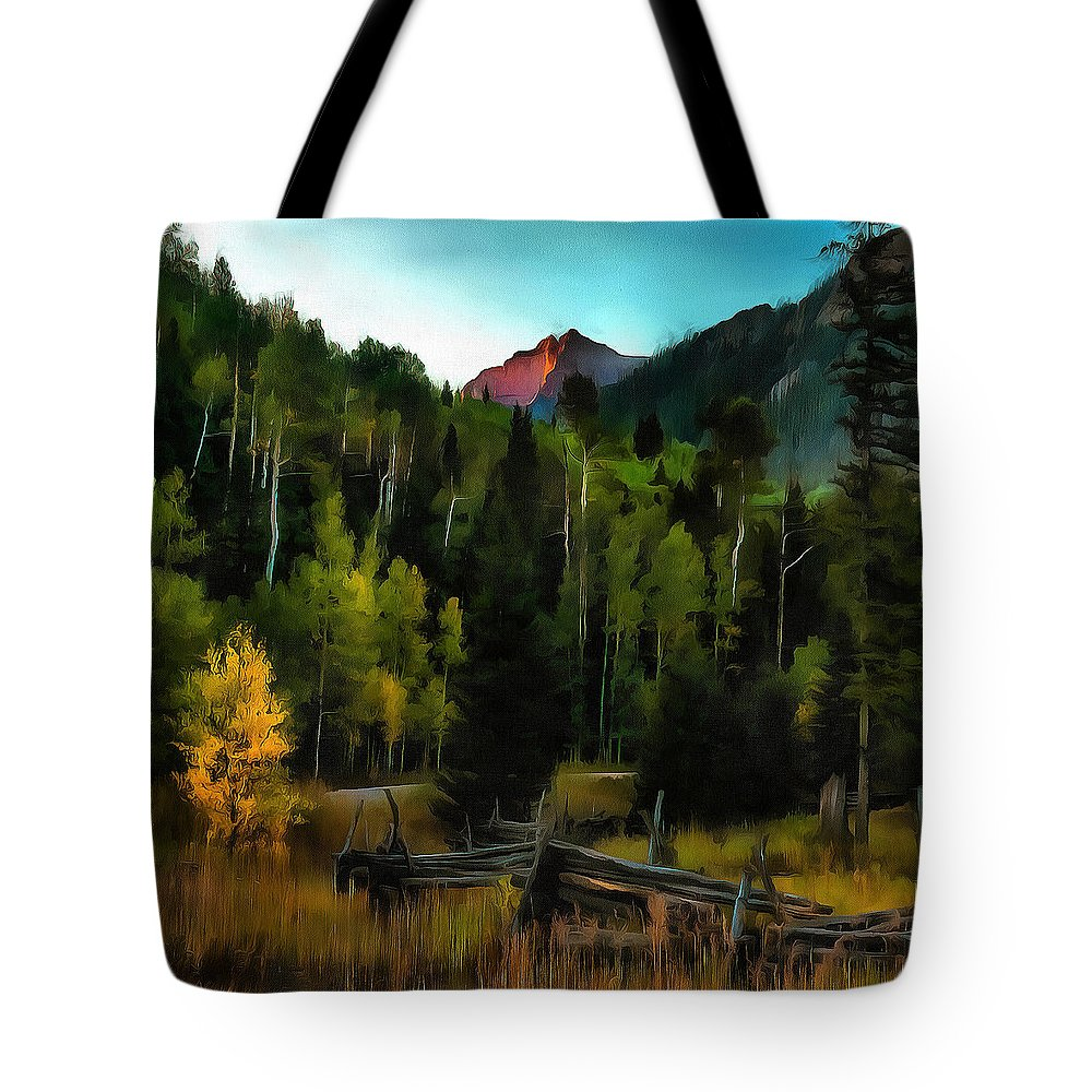 Photo Painting Tote Bag featuring the digital art Sunrise At Cirque by Fine Art Western Paintings