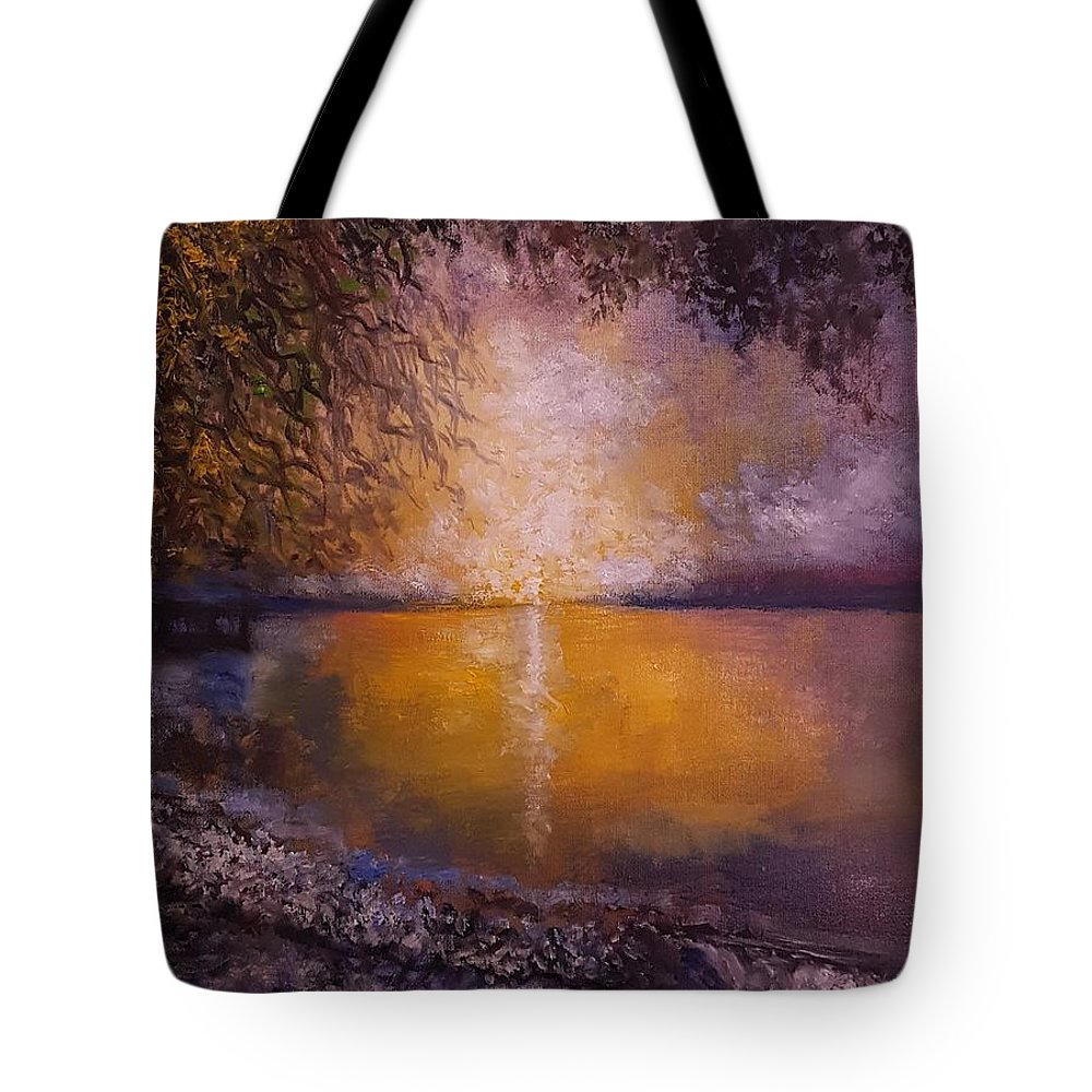 Tote Bag featuring the painting Sunrise On The Sea by Michael Hanrahan