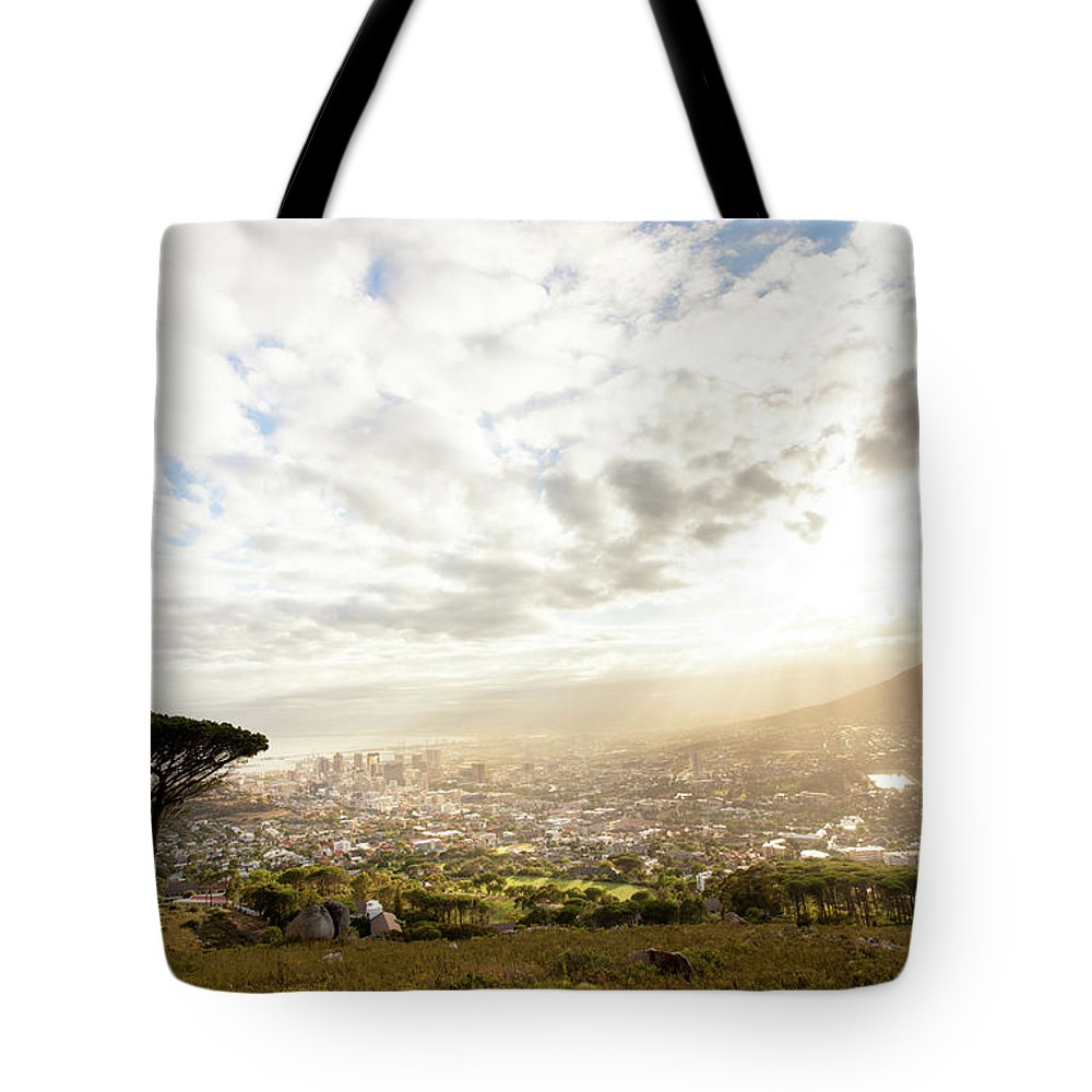 Scenics Tote Bag featuring the photograph Sunrise Over Cape Town South Africa by Epicurean