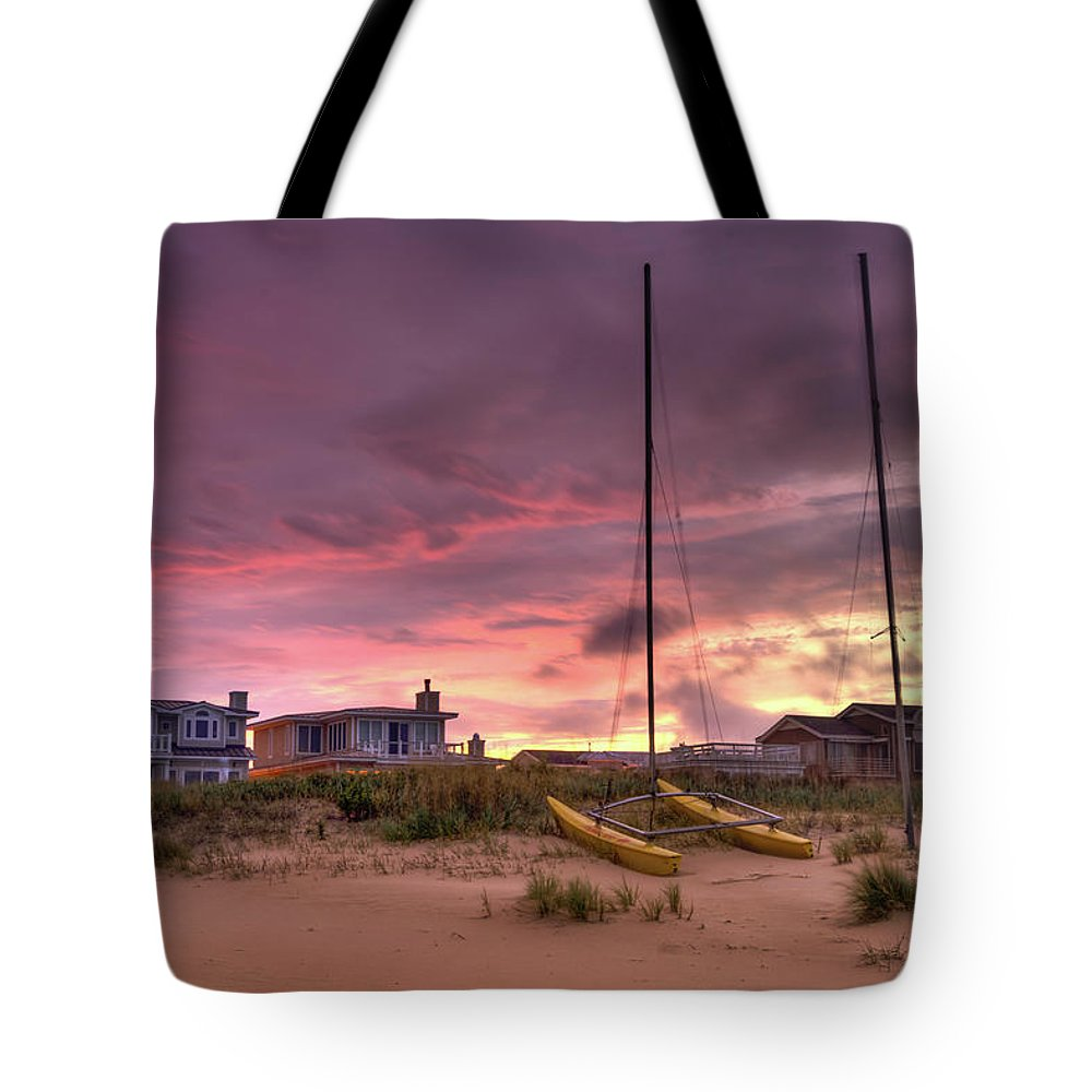 Sun Tote Bag featuring the digital art Sunset After Hurricane by Catherine Johnson