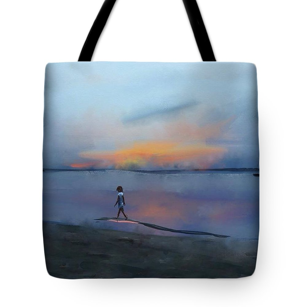 Beach Tote Bag featuring the digital art Sunset Beach by Marvin Campbell