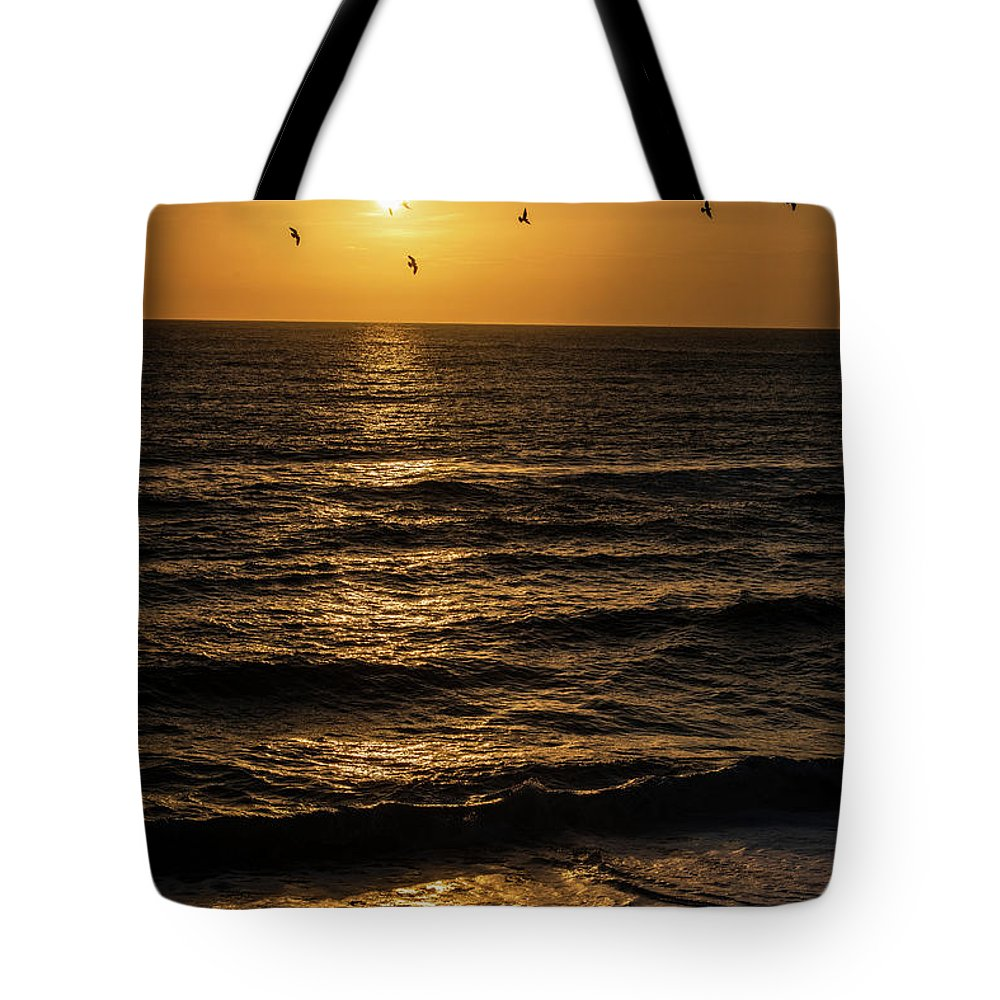 Nags Head Tote Bag featuring the photograph Sunrise Birds North Carolina by Robert Moorhead