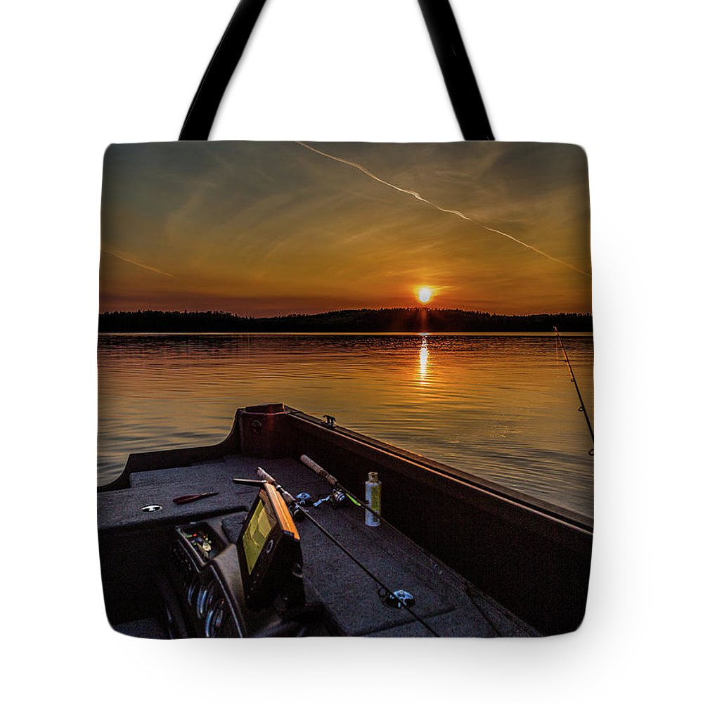 Sunset Fishing Dog Lake Tote Bag featuring the photograph Sunset Fishing Dog Lake by Joe Holley