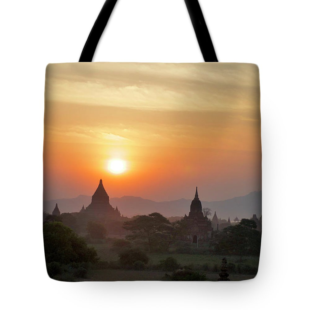 Tranquility Tote Bag featuring the photograph Sunset From Atop The Shwesandaw Paya by Jim Simmen