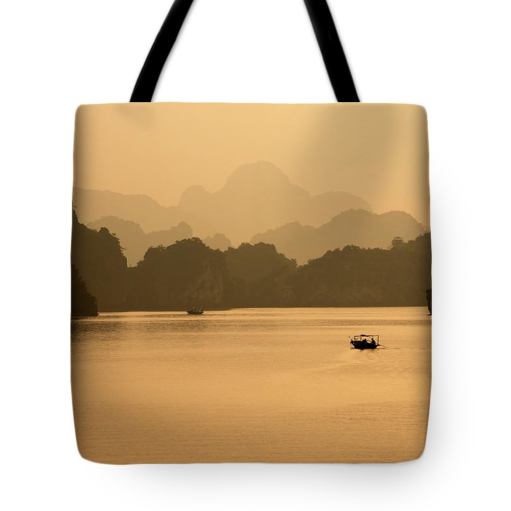 Halong Bay Tote Bag featuring the photograph Sunset, Halong Bay, Vietnam by Yellow Dog Productions