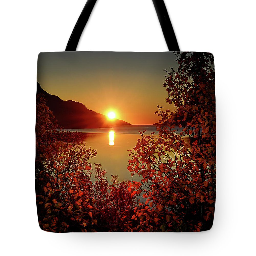 Tranquility Tote Bag featuring the photograph Sunset In Ersfjordbotn by John Hemmingsen