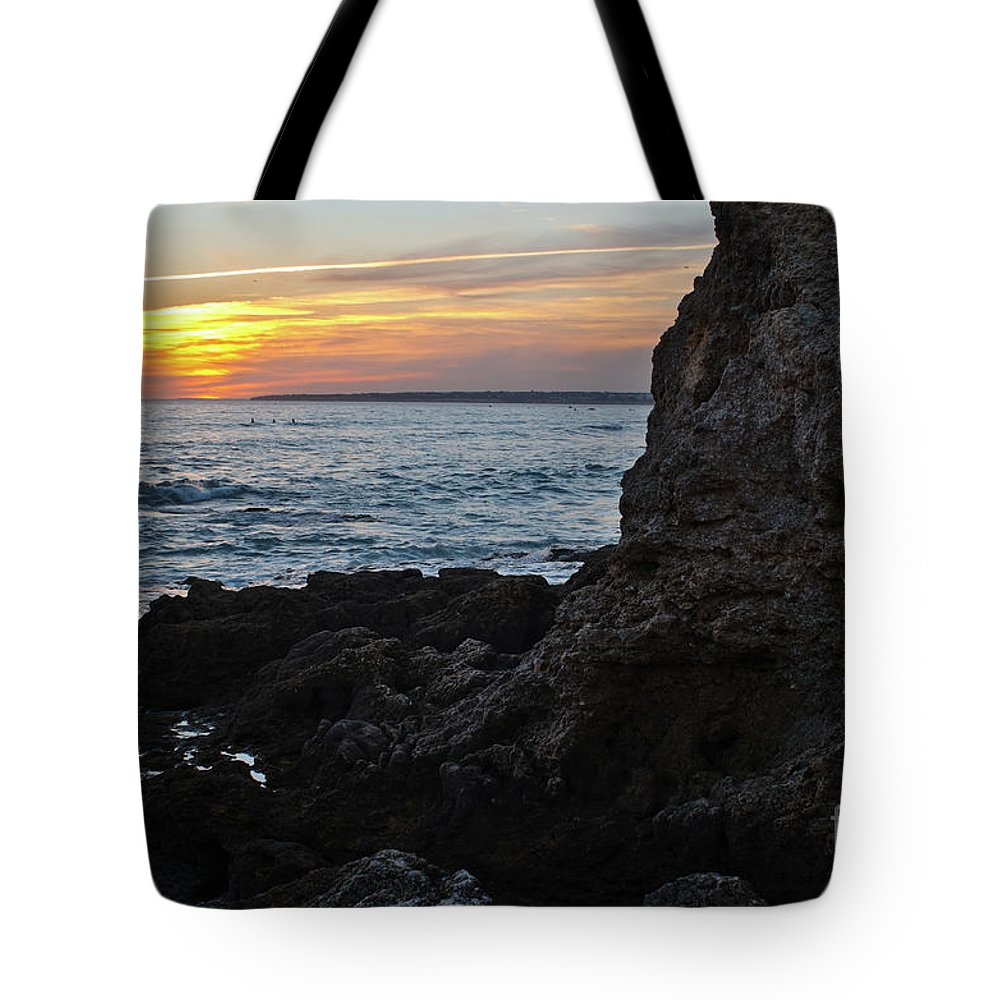 Praia Da Gele Tote Bag featuring the photograph Sunset In Gale Beach. Coast Of Algarve 2 by Angelo DeVal