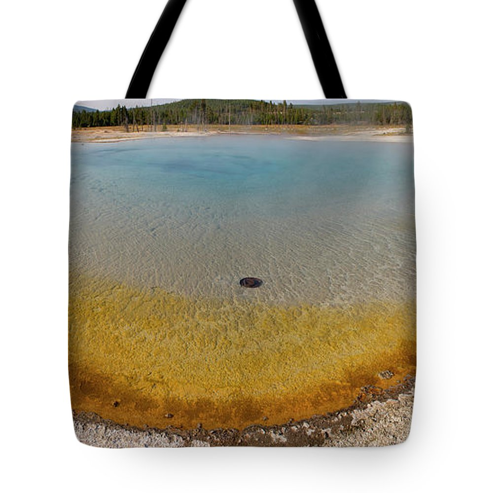 Mineral Tote Bag featuring the photograph Sunset Lake Hot Spring, Black Sand by Inhauscreative